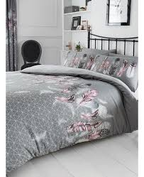 geometric feathers single duvet cover and pillowcase set grey