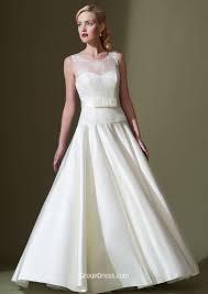 illusion sleeveless ivory applique a line modest taffeta wedding