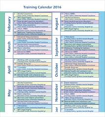 12 Sample Training Calendar Templates To Download | Sample Templates