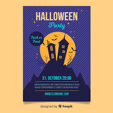 Halloween Dance Flyer Templates Terrific Halloween Party Poster With Flat Design Nohat