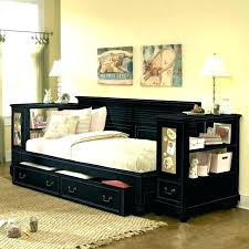 daybed with built in shelving shelves storage drawers black trundle and wood stora