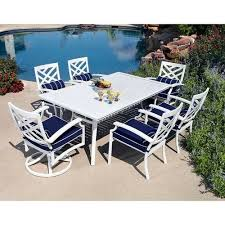 aluminum dining sets patio furniture. 7pc aluminum outdoor dining table chairs white patio furniture set | ebay sets e