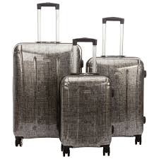 Luggage With Drawers Samsonite Carbon 3 Piece 4 Wheeled Luggage Set Silver Black