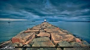 Bud Light Lighthouse Break Water Budlight Lighthouse Portland Maine Royal Stock