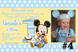 baby mickey mouse invitations birthday baby mickey mouse custom photo st birthday invitation digital on
