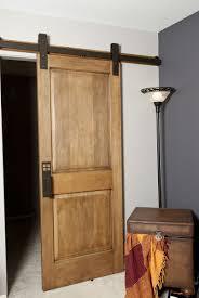 hand made interior barn door hardware flat track installation by basin custom custommade com