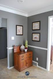 benjamin moore chelsea gray wtih chair rail wood cabinet and home decor kylie m