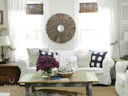 Jute Rug Living Room Farmhouse Style Living Room White Slip Covered Sofa Jute Rug