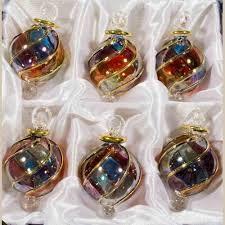 Amazoncom Glass Christmas Tree Ornaments  Set Of 3 Xmas Trees Christmas Ornament Sets