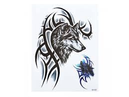 Voděodolné Dočasné Tetování Motiv Vlčí Hlava černá
