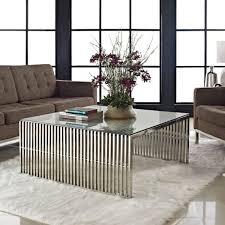 coffee table modern steel and glass table