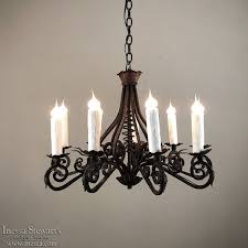 19th century country french wrought iron chandelier