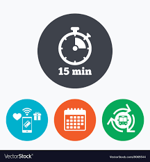 Timer For 15 Min Timer Sign Icon 15 Minutes Stopwatch Symbol Vector Image
