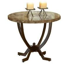 vintage round end table w marble top brown curved metal base finish living room