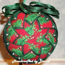 321 best Quilted Ball Ornaments images on Pinterest | Beads ... & Holly 3 ~ Quilt looking fabric ornaments made by Handcrafted by Denise. Adamdwight.com