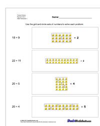 20 picture math division worksheets