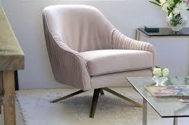 west elm rabbit roar swivel chair in dusty blush re velvet
