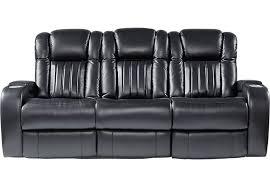 black leather reclining sofa. Exellent Reclining Servillo Black Leather Power Plus Reclining Sofa  Sofas Black In C