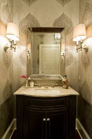 powder room bathroom lighting ideas. Cozy Powder Room Ideas With Thibaut Wallpaper And Bathroom Lighting Plus Mirror Undermount Sink Also Freestanding Dark Vanity Wood Molding I