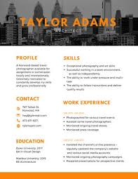 Orange Cityscape Architect Modern Resume Templates By Canva