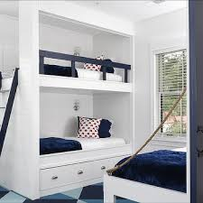 kids room kids bedroom neat long desk. White Built In Bunk Beds With Navy Safety Rail Kids Room Bedroom Neat Long Desk O
