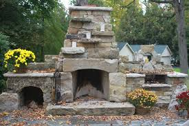 dry stack outdoor fireplacerustic patio new york