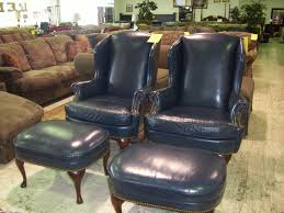 Living Room Chairs With Ottoman Furniture Appealing Black Leather Wingback Chair With Ottoman