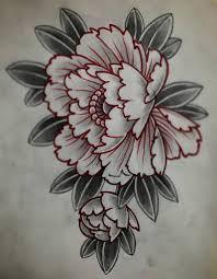 эскиз татуировки с пионом цветы татуировки татуировка цветы и пионы