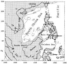 Map Of The South China Sea With The 100 And 1000 Isobaths