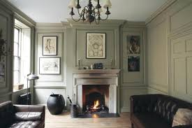 living room with walls in french gray trim in london stone and ceiling in blackened
