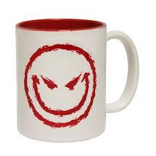Smiley Face Coffee Mug Evil Smiley Face Coffee Mug Joke Humour Horror Funny Birthday Gift