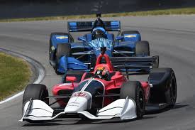 2018 chevrolet indycar. perfect indycar oriol servia front in a honda and juan pablo montoya back chevrolet  drive through the turn 12 carousel at midohio sports car course during  and 2018 chevrolet indycar r