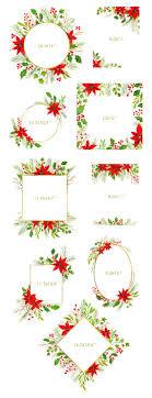 Aquarell Weihnachten Rahmen Zweige Floral Cliparts Neujahr Grün Digitaler Download Weihnachtsstern Kiefer Holly Mistel Freie Kommerzielle Nutzung Png