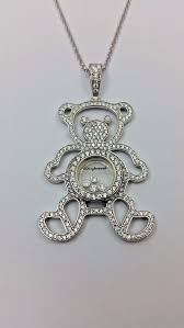 unique sterling silver 925 chain necklace teddy bear charm pendant w cz s