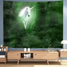 Unicorn Shining in Forest Digital Print Tapestry | Gearbest