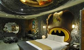 Amazing Batman Bedroom Decorations For Boys With Dominant Stone Color And  Batman Headboard Character Also White Bedding Sets