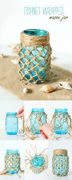 DIY fishnet wrapped mason jars for beach wedding ideas