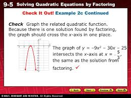 24 9 5 solving quadratic equations by factoring check it out example 2c continued check graph the quadratic