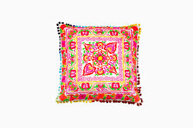 indian antique french cushions. The Raj Tent Club - Square Multi Coloured Pom Cushion Indian Antique French Cushions C