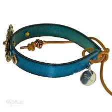 teal blue leather band steampunk bracelet with gears and studs by popnicute jewelry uni leather