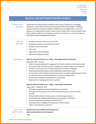 Receptionist Resume Summary Resume Medical Receptionist Resume 20