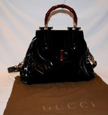 gucci black patent leather canvas red bamboo handle