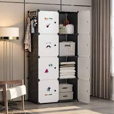 Portable Furniture Design Yozo Closet Organizer Portable Wardrobe Cloth Storage Bedroom Armoire Cube Shelving Unit Dresser Cabinet Diy Furniture Black 8 Cubes