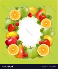 fresh fruit background. Exellent Fresh Fresh Fruit In Frame Green Background Vector Image And Fruit Background