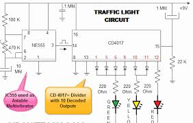 traffic light using i c 555 electronic projects ic based audio traffic light circuit diagram