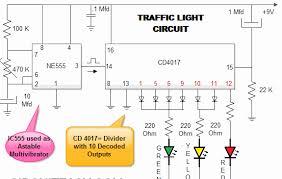traffic light using i c 555 electronic projects ic based audio traffic light circuit diagram