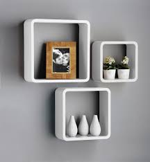 new set of  white  black square floating cube wall storage