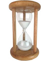 classic oak 60 minute hourglass with white sand