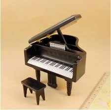 Novelty Dollhouse Bjd Doll Furniture Grand Piano With Chair White
