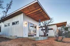 corrugated metal cabin exterior industrial with shed roof homes